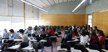 The students working in groups